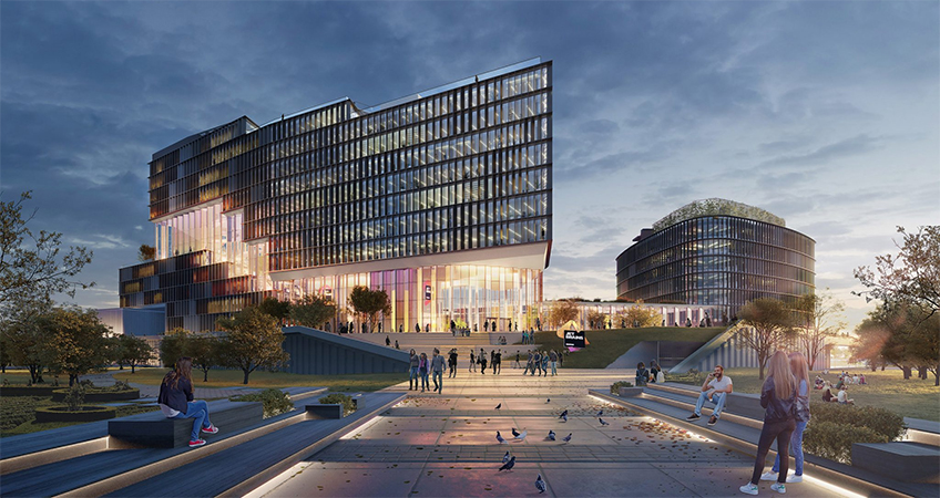 JetBrains' office will have a gridded façade divided by a glass atrium