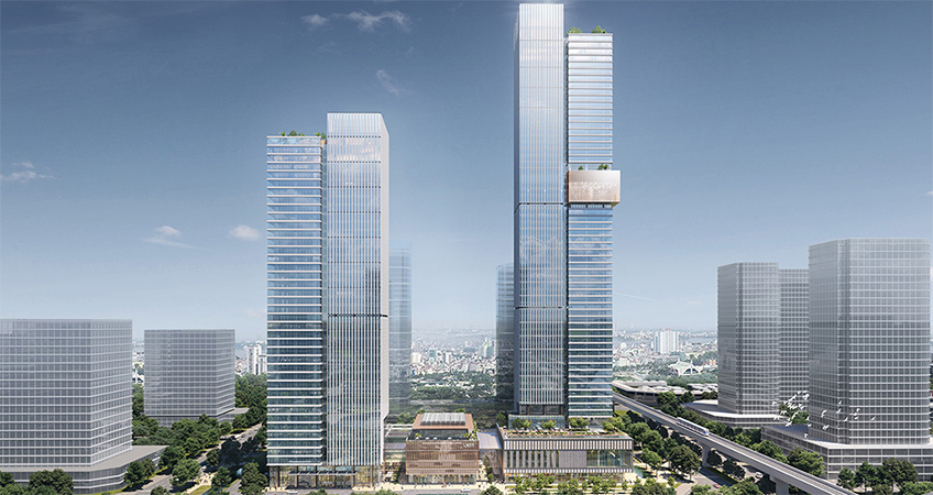 The development will include both a hotel and a condominium tower, with a four-story retail tower located between them. (c) 10 Design.