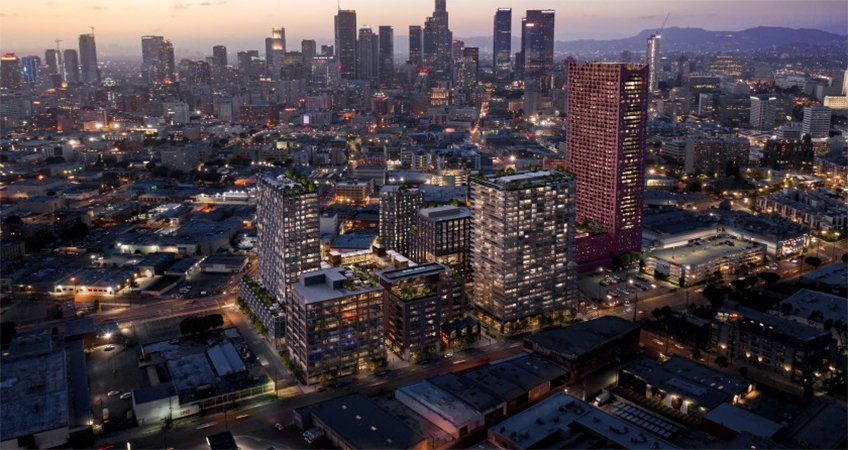 An aerial rendering showing the proposed Fourth & Central in the Arts District.(Studio One Eleven / Adjaye Associates)