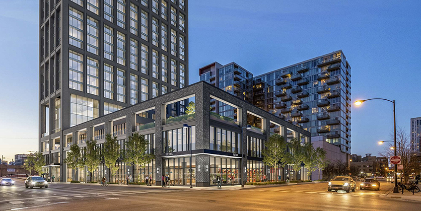 At 640 W. Washington in Chicago, the building will have three residential zones stacked vertically, with a different façade and massing articulation for each one. Image credit: Hartshorne Plunkard Architecture