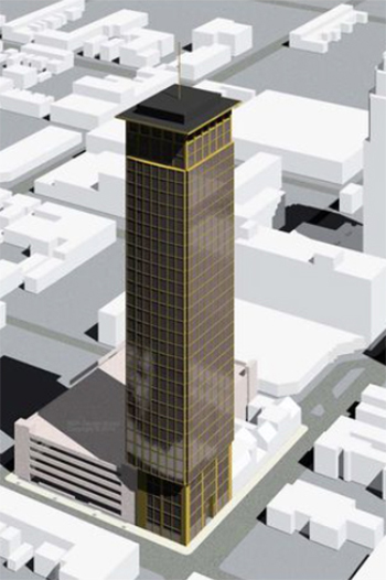"""The proposed """"pencil tower"""" would rise 128 meters and 33 stories. (c) Ascot Circle Realty"""