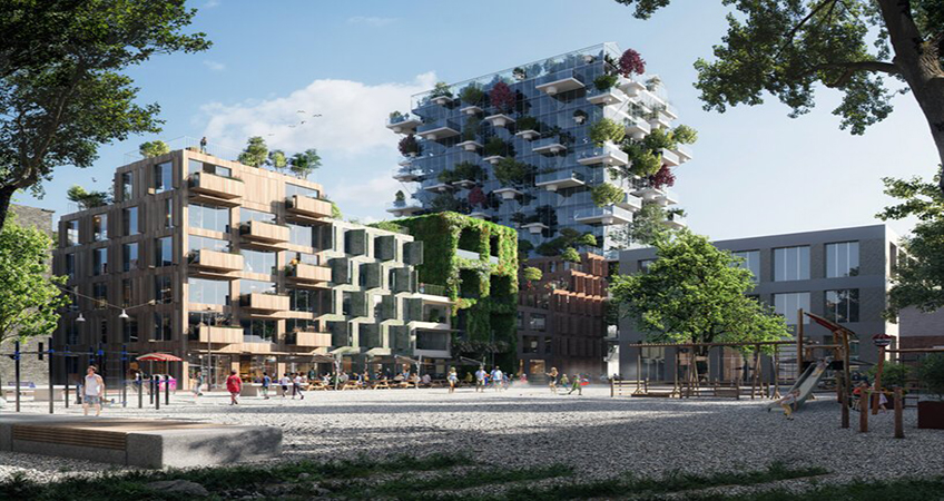 Emulating the historic warehouses of Amsterdam's Oostenburg Island, a number of the façades of 'De Oosterlingen' block open up by means of folding shutters and canopies. Image credit: proloog