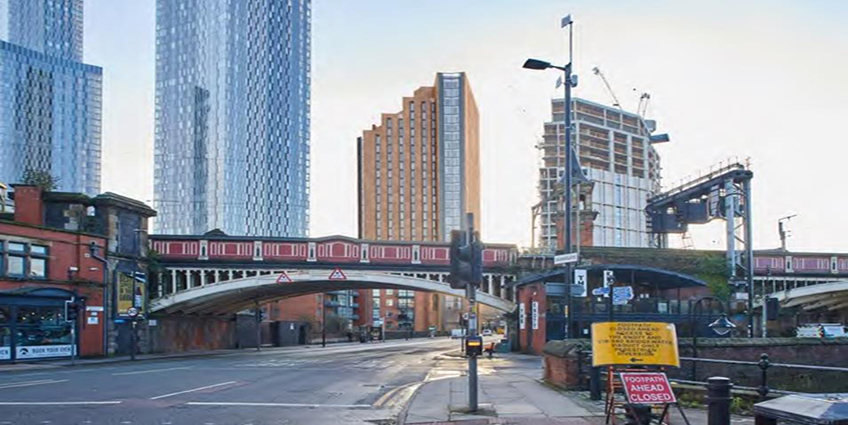 A proposed 28-story student housing project was rejected by the Manchester City Council.  Image credit: Building Design