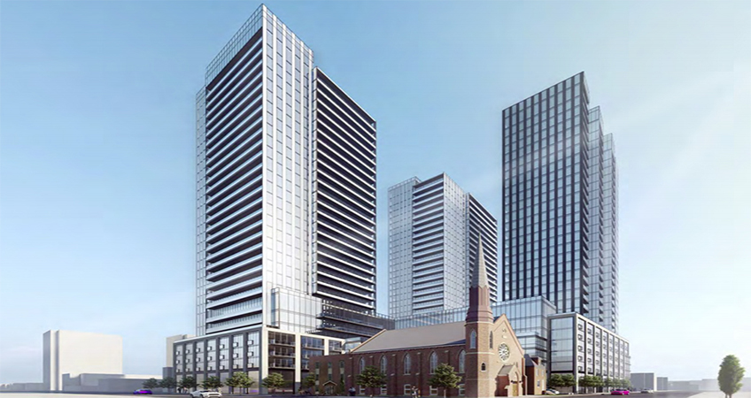 The proposed 30-story complex in Hamilton would sit in dialogue with a church on the site's corner. Image credit: EMBLEM Developments Inc.