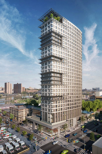425 Grand Concourse in the Bronx topped out in January 2021. Image credit: Dattner Architects