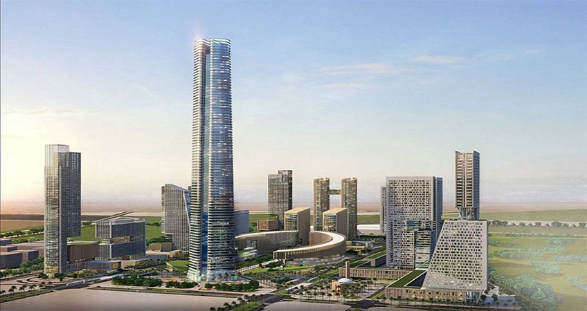 The Iconic Tower has topped out at 385 meters. Image credit: China State Construction Engineering Corporation