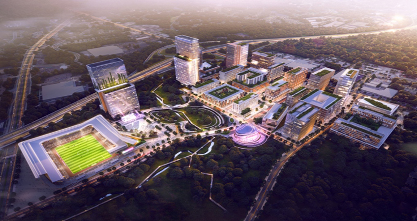 The masterplan for Raleigh's Downtown South includes a virtual reality center and a 20,000-seat stadium. Image credit: Frontop, courtesy of 10 Design