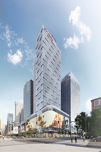 In Los Angeles, the dual-branded Moxy Los Angeles Downtown and AC Hotel Los Angeles Downtown have topped out at 37 stories. Image credit: Gensler