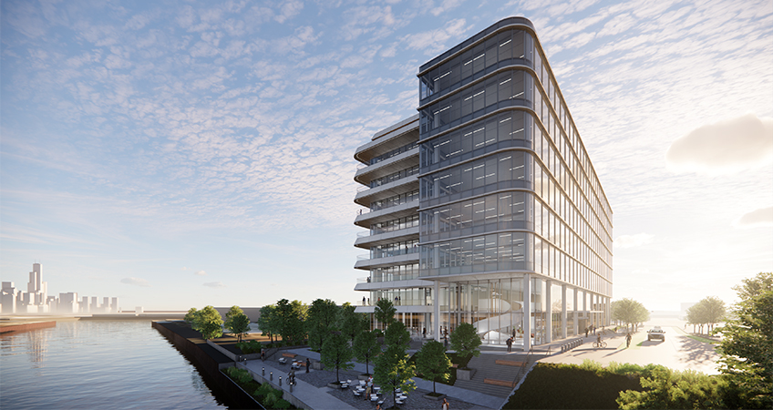 A rendering of Ally, the first building to be built in Lincoln Yards. Image credit: Gensler