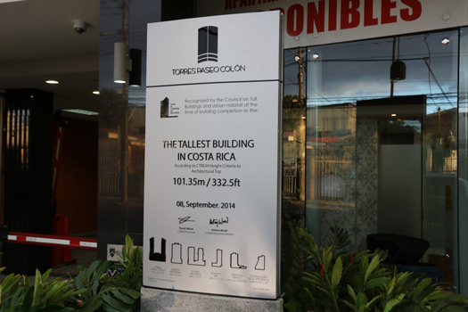 Signboard outside of Torre Paseo Colón 2